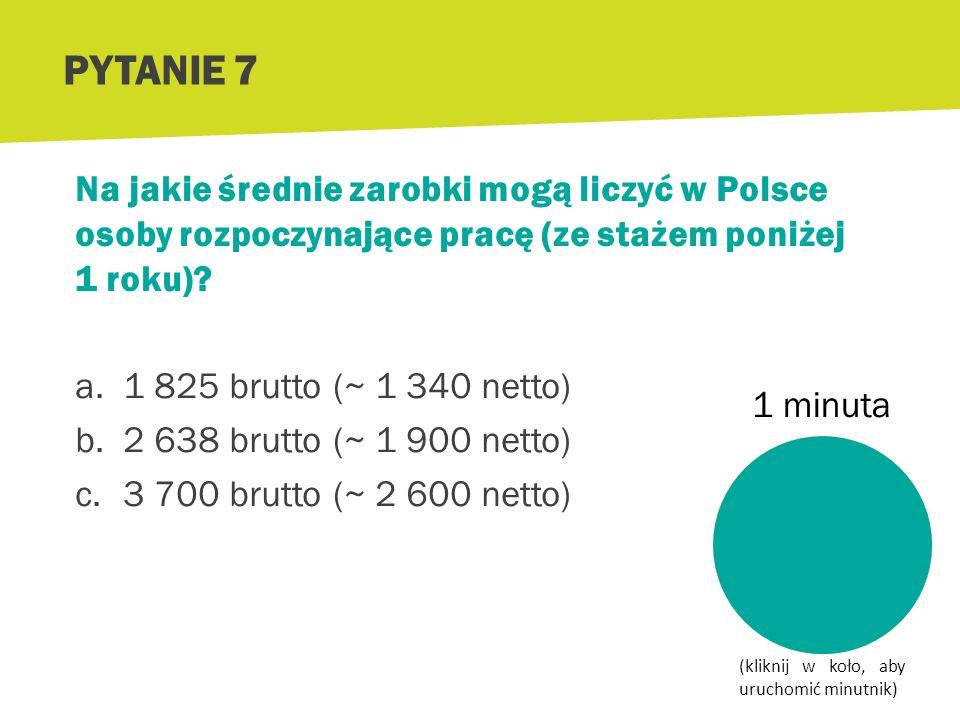 PYTANIE 6 Źródło: http://www.wynagrodzenia.pl/artykul.php/typ.1/kategoria_glowna.503/wpis.2849 Wyższe wykształcenie zwiększa szansę na wyższe zarobki!