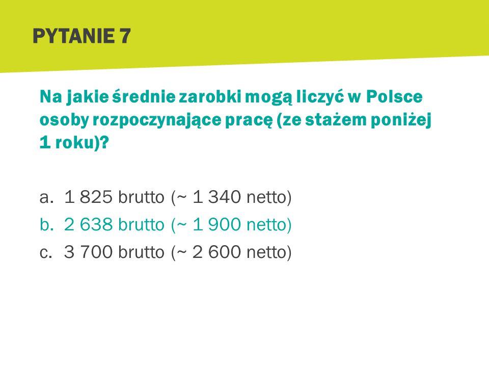 Na jakie średnie zarobki mogą liczyć w Polsce osoby rozpoczynające pracę (ze stażem poniżej 1 roku)? a.1 825 brutto (~ 1 340 netto) b.2 638 brutto (~