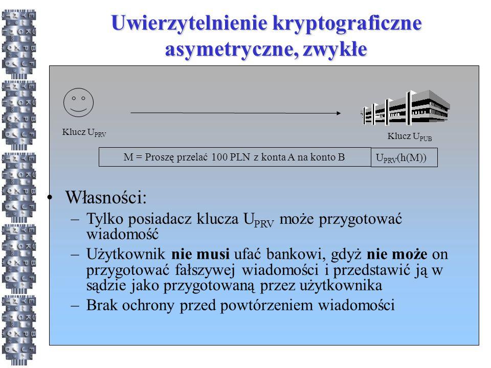 Uwierzytelnienie kryptograficzne asymetryczne, zwykłe M = Proszę przelać 100 PLN z konta A na konto B U PRV (h(M)) Klucz U PRV Klucz U PUB Własności: –Tylko posiadacz klucza U PRV może przygotować wiadomość –Użytkownik nie musi ufać bankowi, gdyż nie może on przygotować fałszywej wiadomości i przedstawić ją w sądzie jako przygotowaną przez użytkownika –Brak ochrony przed powtórzeniem wiadomości