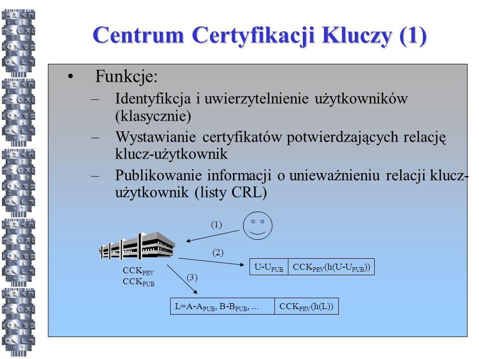 Centrum Certyfikacji Kluczy (1) Funkcje: –Identyfikcja i uwierzytelnienie użytkowników (klasycznie) –Wystawianie certyfikatów potwierdzających relację