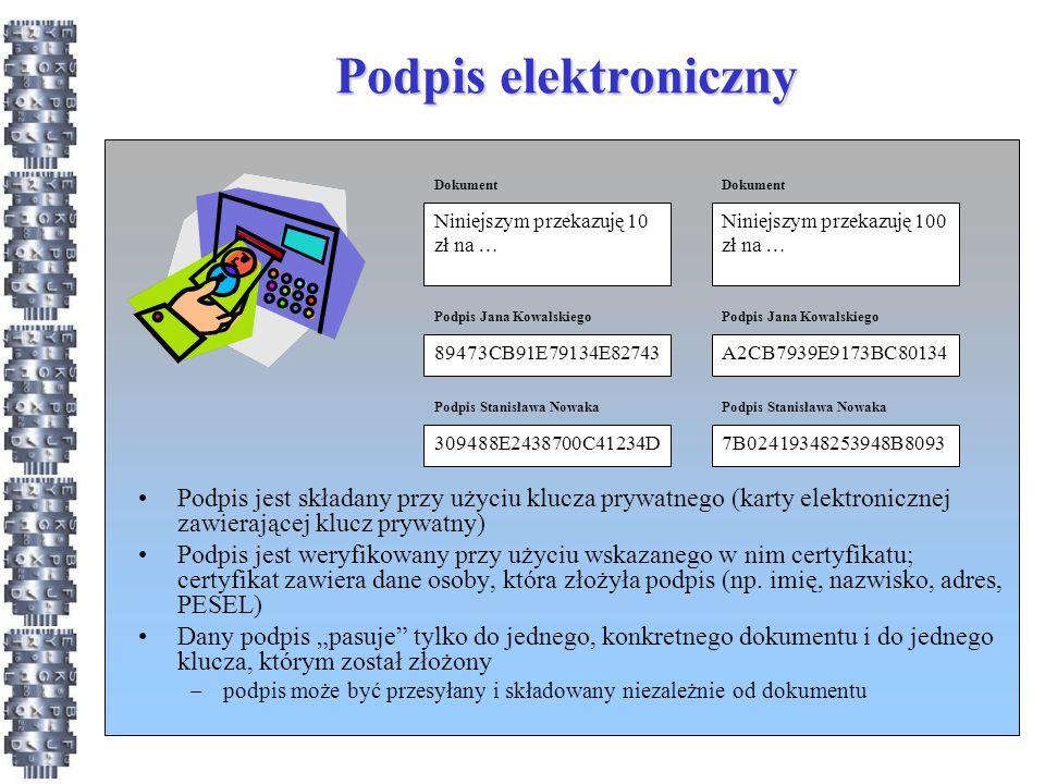 """Podpis """"zwykły Znany od wielu lat, stosowany w Polsce co najmniej od początku lat 90 Dane w postaci elektronicznej, które wraz z innymi danymi, do których zostały dołączone lub z którymi są logicznie powiązane, służą do identyfikacji osoby składającej 13."""