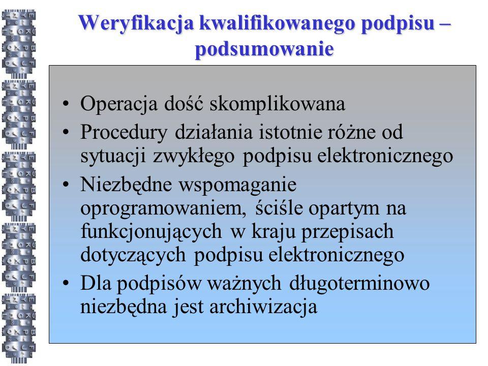 Weryfikacja kwalifikowanego podpisu – podsumowanie Operacja dość skomplikowana Procedury działania istotnie różne od sytuacji zwykłego podpisu elektro