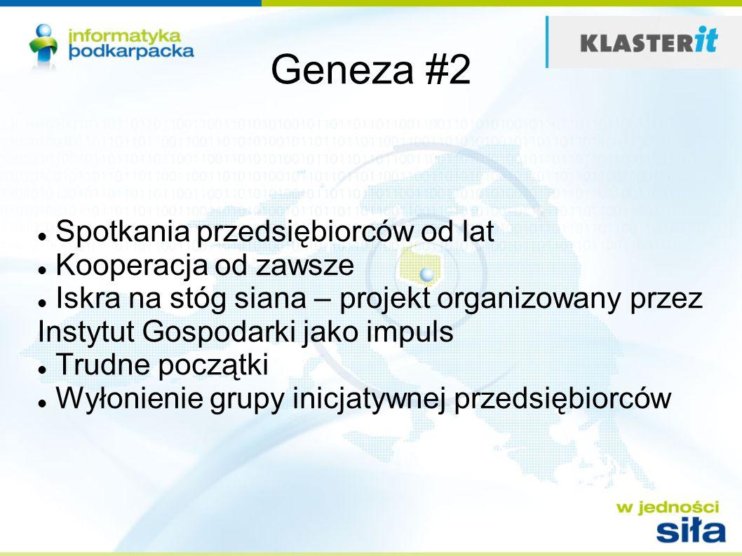 Geneza #2 Spotkania przedsiębiorców od lat Kooperacja od zawsze Iskra na stóg siana – projekt organizowany przez Instytut Gospodarki jako impuls Trudne początki Wyłonienie grupy inicjatywnej przedsiębiorców