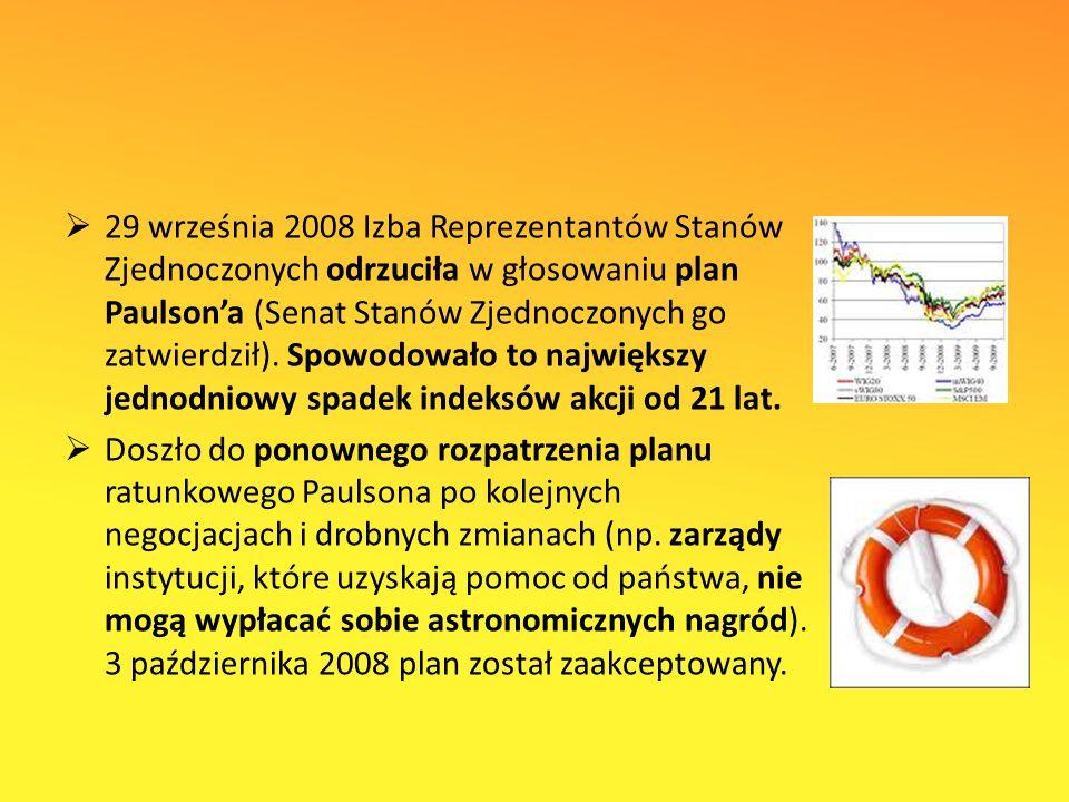  29 września 2008 Izba Reprezentantów Stanów Zjednoczonych odrzuciła w głosowaniu plan Paulson'a (Senat Stanów Zjednoczonych go zatwierdził).