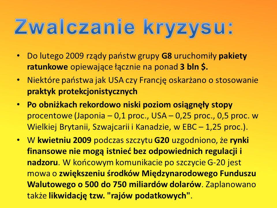 Do lutego 2009 rządy państw grupy G8 uruchomiły pakiety ratunkowe opiewające łącznie na ponad 3 bln $.
