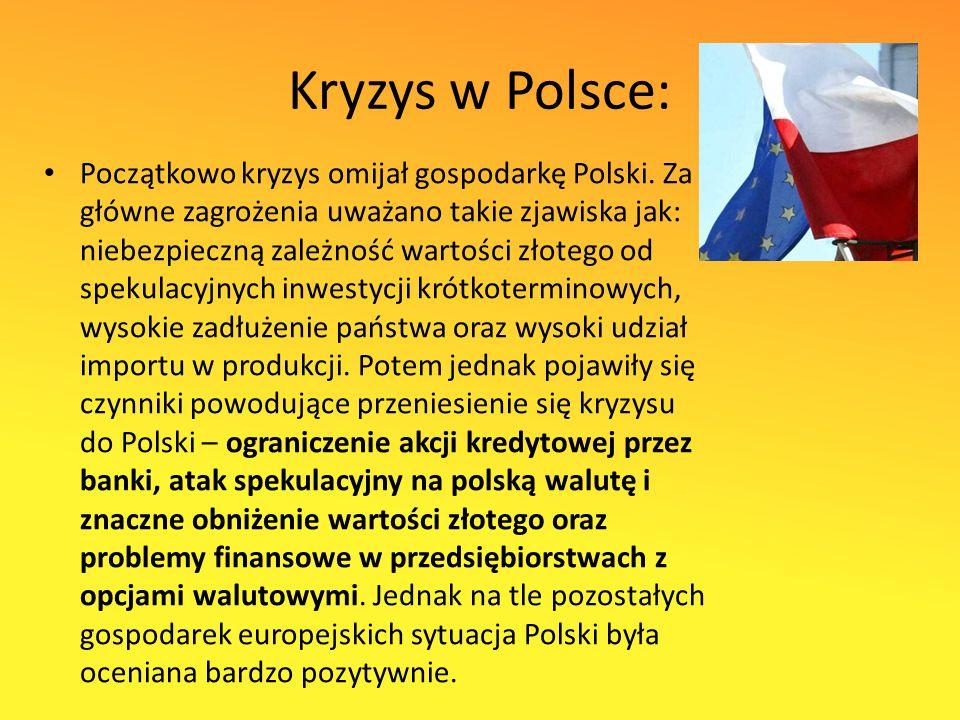 Kryzys w Polsce: Początkowo kryzys omijał gospodarkę Polski.