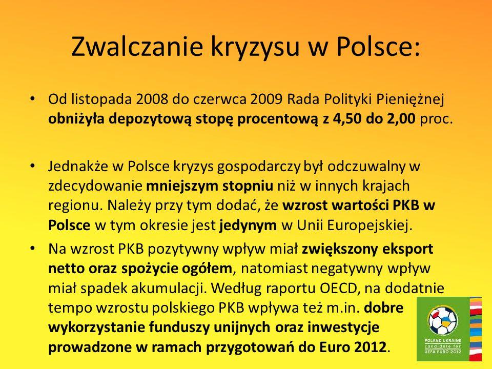 Zwalczanie kryzysu w Polsce: Od listopada 2008 do czerwca 2009 Rada Polityki Pieniężnej obniżyła depozytową stopę procentową z 4,50 do 2,00 proc.