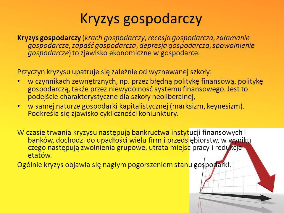 Kryzys gospodarczy Kryzys gospodarczy (krach gospodarczy, recesja gospodarcza, załamanie gospodarcze, zapaść gospodarcza, depresja gospodarcza, spowolnienie gospodarcze) to zjawisko ekonomiczne w gospodarce.