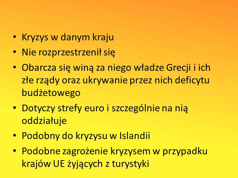 Kryzys w danym kraju Nie rozprzestrzenił się Obarcza się winą za niego władze Grecji i ich złe rządy oraz ukrywanie przez nich deficytu budżetowego Dotyczy strefy euro i szczególnie na nią oddziałuje Podobny do kryzysu w Islandii Podobne zagrożenie kryzysem w przypadku krajów UE żyjących z turystyki