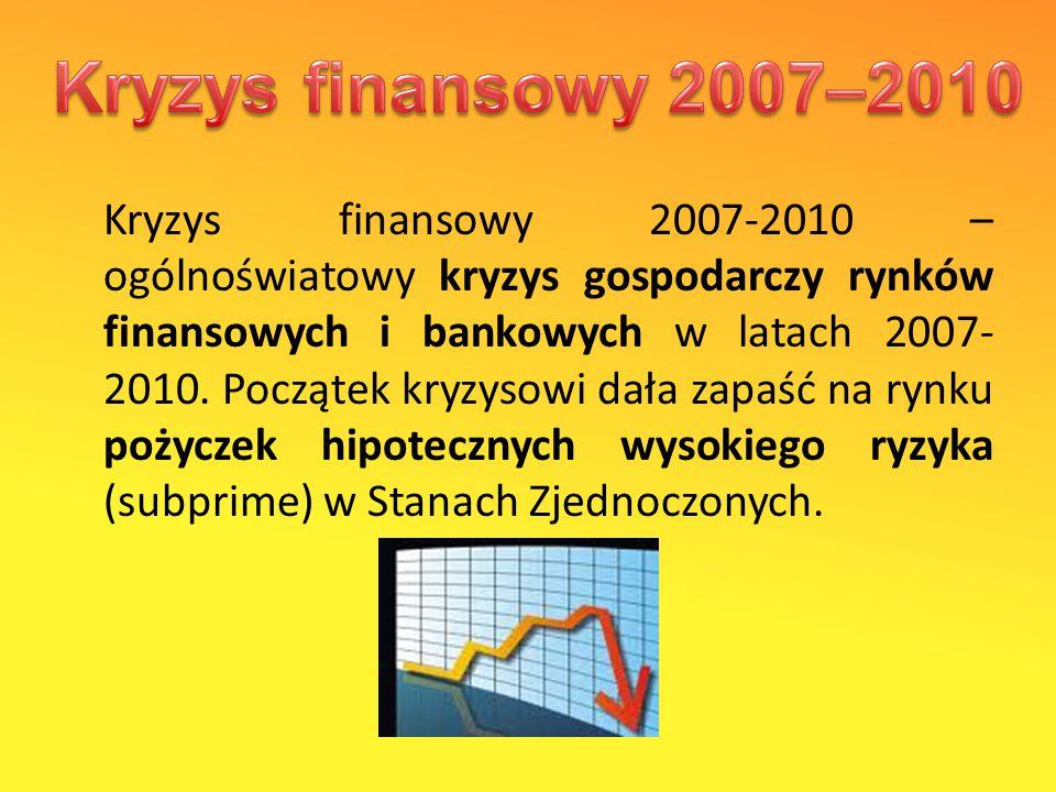 Kryzys finansowy 2007-2010 – ogólnoświatowy kryzys gospodarczy rynków finansowych i bankowych w latach 2007- 2010.