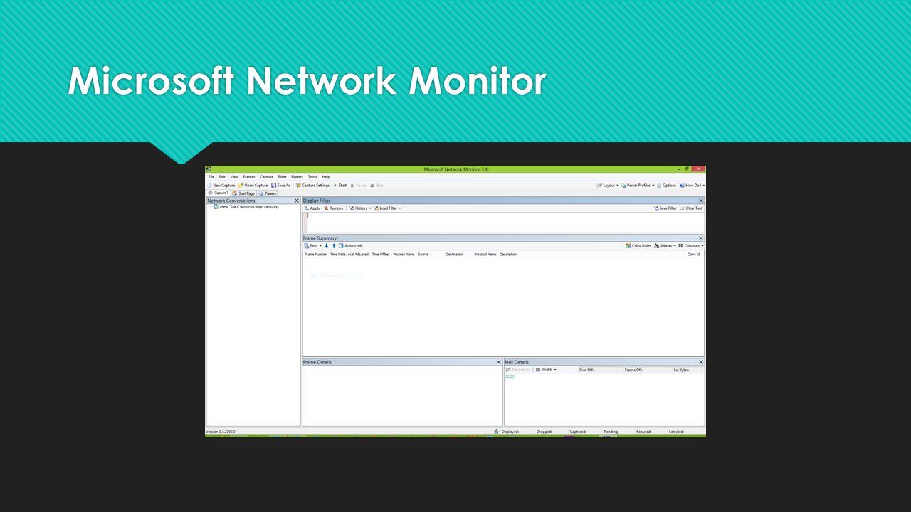  http://www.microsoft.com/en-us/download/details.aspx?id=4865 http://www.microsoft.com/en-us/download/details.aspx?id=4865  Darmowy  Wersja 3.4  Przechwytywanie i analiza komunikacji sieciowej  Parsery dla wielu protokołów  http://www.microsoft.com/en-us/download/details.aspx?id=4865 http://www.microsoft.com/en-us/download/details.aspx?id=4865  Darmowy  Wersja 3.4  Przechwytywanie i analiza komunikacji sieciowej  Parsery dla wielu protokołów