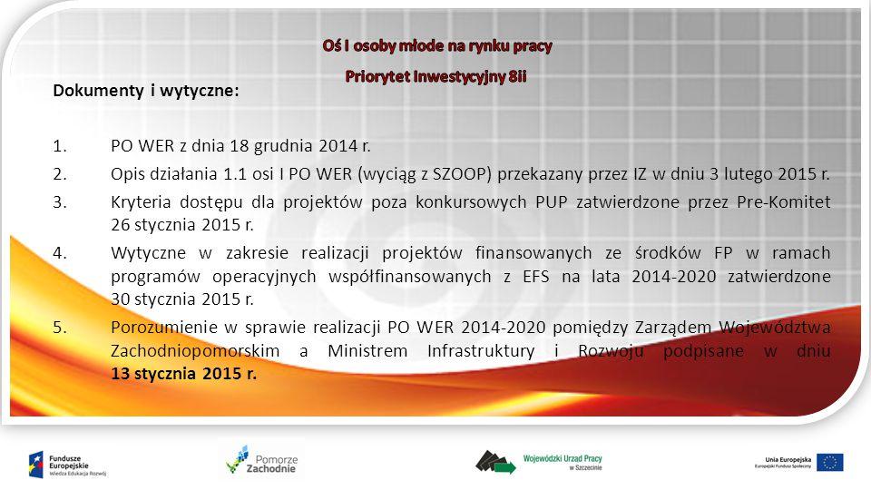 Dokumenty i wytyczne: 1.PO WER z dnia 18 grudnia 2014 r.
