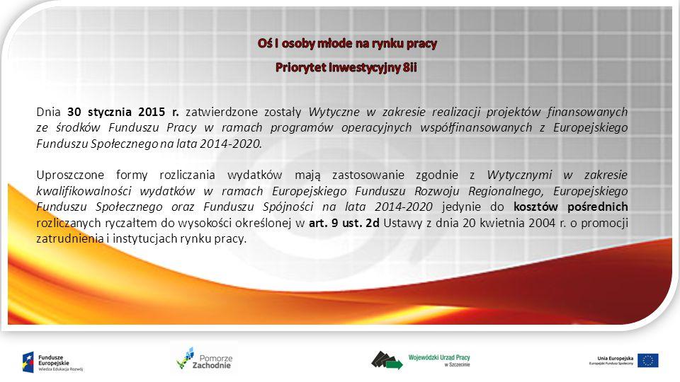 Dnia 30 stycznia 2015 r. zatwierdzone zostały Wytyczne w zakresie realizacji projektów finansowanych ze środków Funduszu Pracy w ramach programów oper