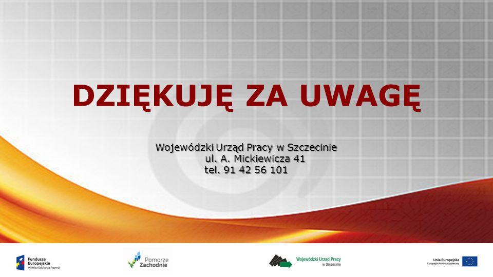 DZIĘKUJĘ ZA UWAGĘ Wojewódzki Urząd Pracy w Szczecinie ul. A. Mickiewicza 41 tel. 91 42 56 101