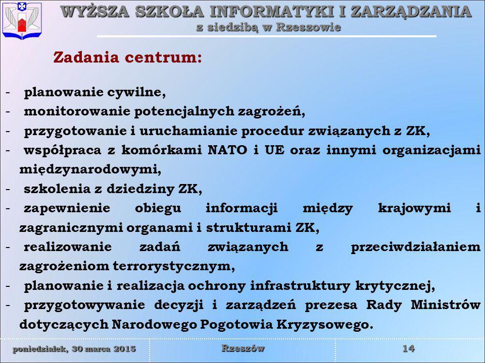 WYŻSZA SZKOŁA INFORMATYKI I ZARZĄDZANIA z siedzibą w Rzeszowie 14 poniedziałek, 30 marca 2015poniedziałek, 30 marca 2015poniedziałek, 30 marca 2015poniedziałek, 30 marca 2015 Rzeszów - planowanie cywilne, - monitorowanie potencjalnych zagrożeń, - przygotowanie i uruchamianie procedur związanych z ZK, - współpraca z komórkami NATO i UE oraz innymi organizacjami międzynarodowymi, - szkolenia z dziedziny ZK, - zapewnienie obiegu informacji między krajowymi i zagranicznymi organami i strukturami ZK, - realizowanie zadań związanych z przeciwdziałaniem zagrożeniom terrorystycznym, - planowanie i realizacja ochrony infrastruktury krytycznej, - przygotowywanie decyzji i zarządzeń prezesa Rady Ministrów dotyczących Narodowego Pogotowia Kryzysowego.