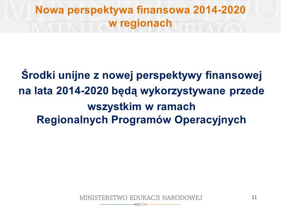 Nowa perspektywa finansowa 2014-2020 w regionach Środki unijne z nowej perspektywy finansowej na lata 2014-2020 będą wykorzystywane przede wszystkim w ramach Regionalnych Programów Operacyjnych 11