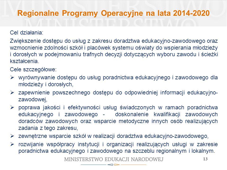 Regionalne Programy Operacyjne na lata 2014-2020 Cel działania: Zwiększenie dostępu do usług z zakresu doradztwa edukacyjno-zawodowego oraz wzmocnienie zdolności szkół i placówek systemu oświaty do wspierania młodzieży i dorosłych w podejmowaniu trafnych decyzji dotyczących wyboru zawodu i ścieżki kształcenia.