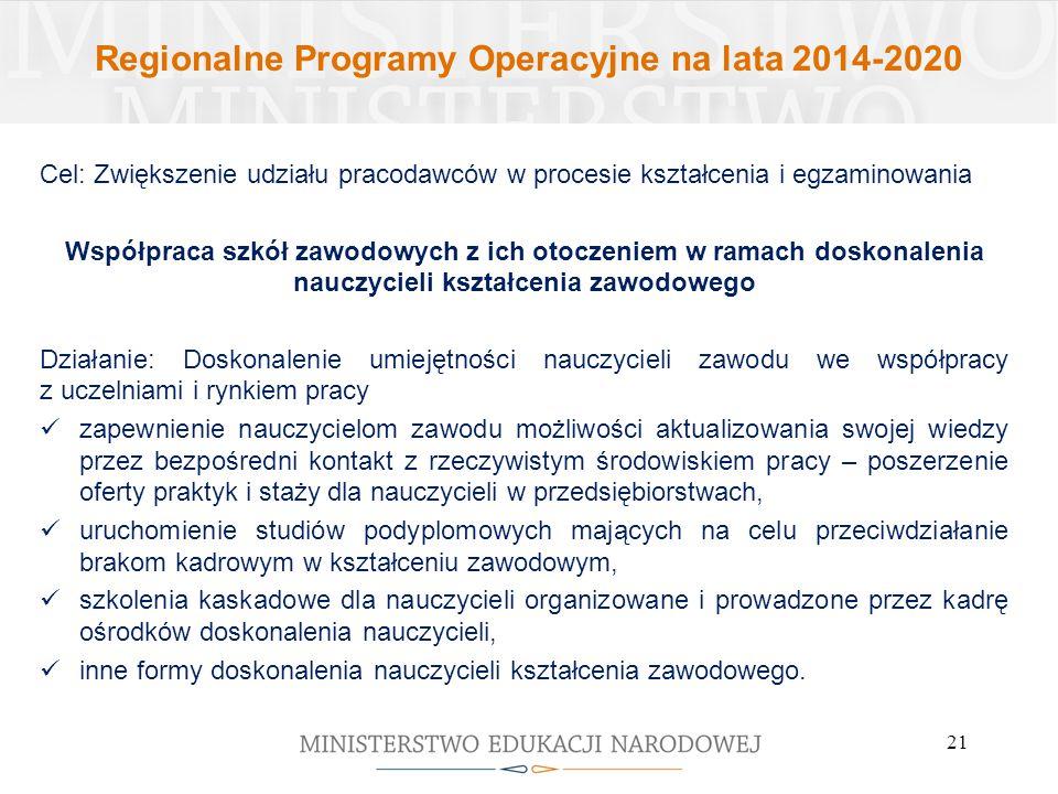 Regionalne Programy Operacyjne na lata 2014-2020 Cel: Zwiększenie udziału pracodawców w procesie kształcenia i egzaminowania Współpraca szkół zawodowy