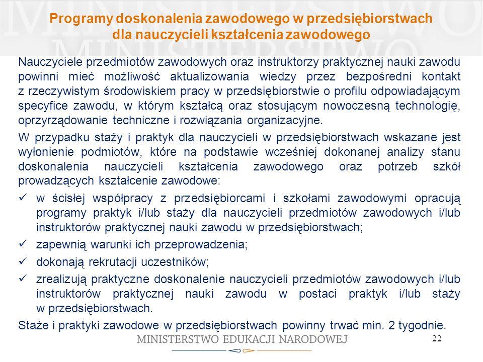 Programy doskonalenia zawodowego w przedsiębiorstwach dla nauczycieli kształcenia zawodowego Nauczyciele przedmiotów zawodowych oraz instruktorzy prak