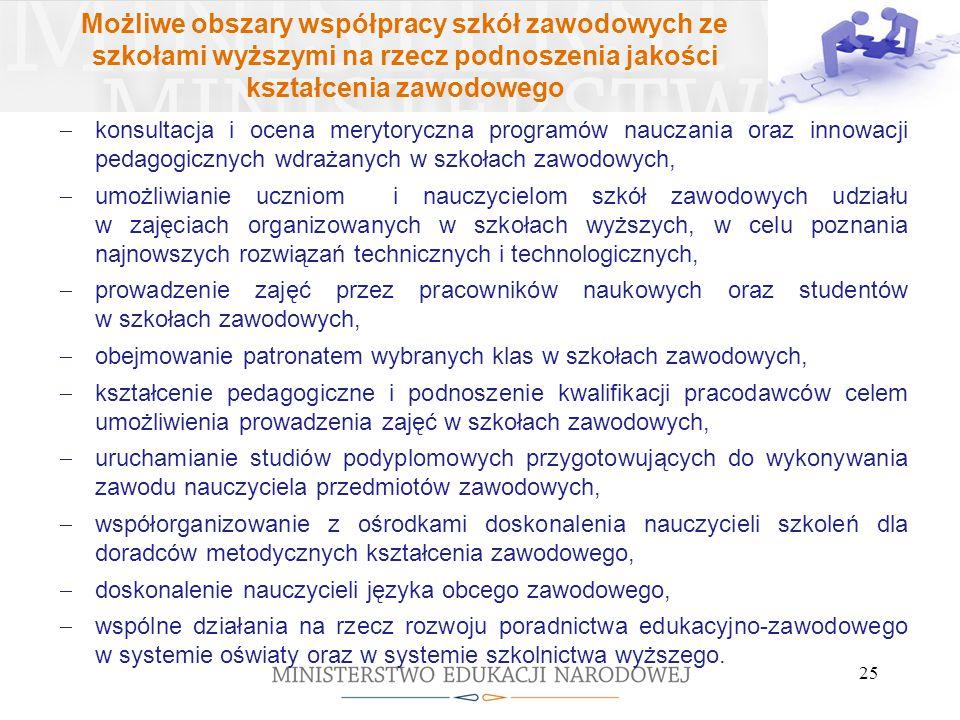 Możliwe obszary współpracy szkół zawodowych ze szkołami wyższymi na rzecz podnoszenia jakości kształcenia zawodowego  konsultacja i ocena merytoryczn