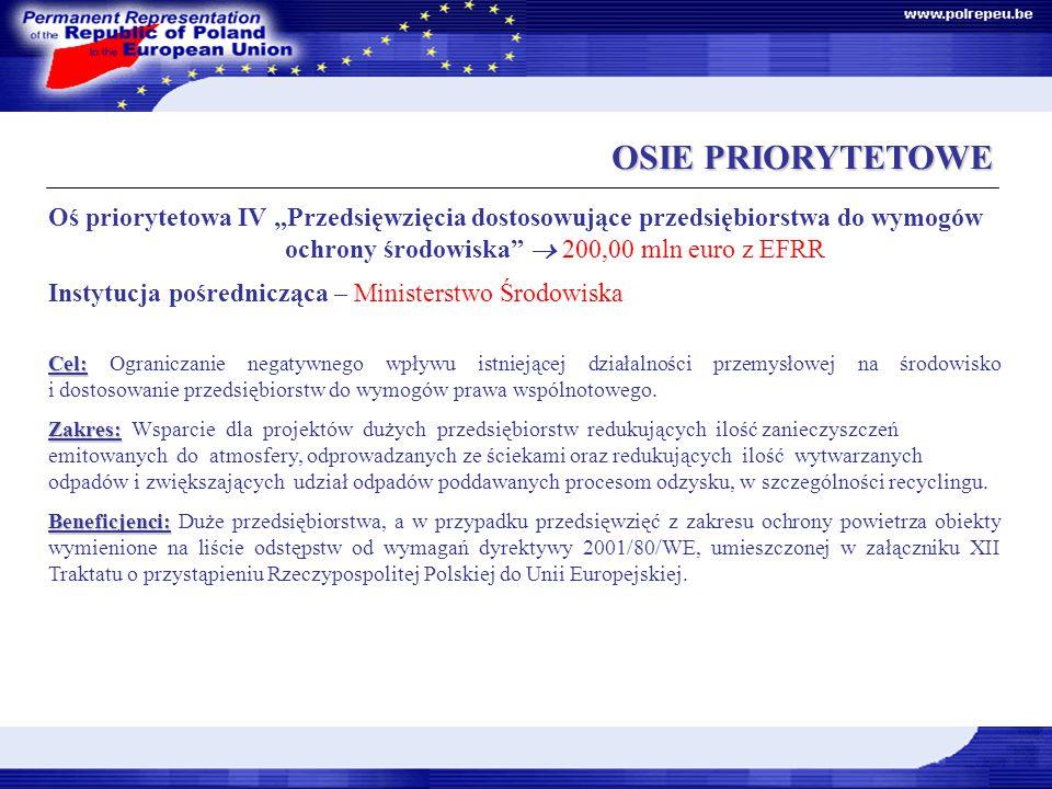 """OSIE PRIORYTETOWE OSIE PRIORYTETOWE Oś priorytetowa IV """"Przedsięwzięcia dostosowujące przedsiębiorstwa do wymogów ochrony środowiska  200,00 mln euro z EFRR Instytucja pośrednicząca – Ministerstwo Środowiska Cel: Cel: Ograniczanie negatywnego wpływu istniejącej działalności przemysłowej na środowisko i dostosowanie przedsiębiorstw do wymogów prawa wspólnotowego."""