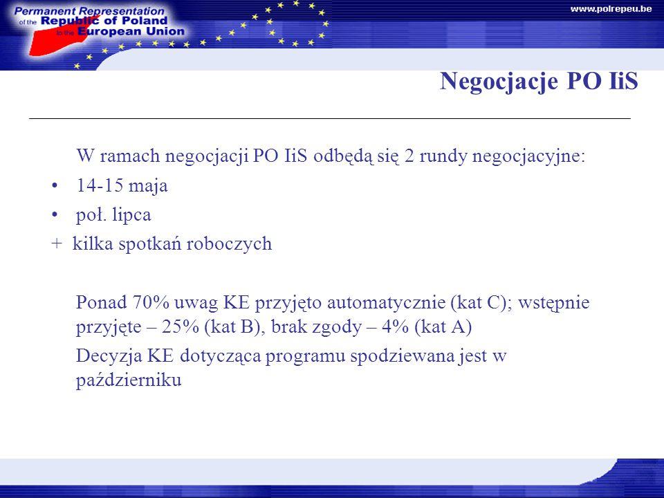 Negocjacje PO IiS W ramach negocjacji PO IiS odbędą się 2 rundy negocjacyjne: 14-15 maja poł.