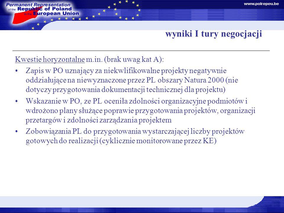 wyniki I tury negocjacji Kwestie horyzontalne m.in.
