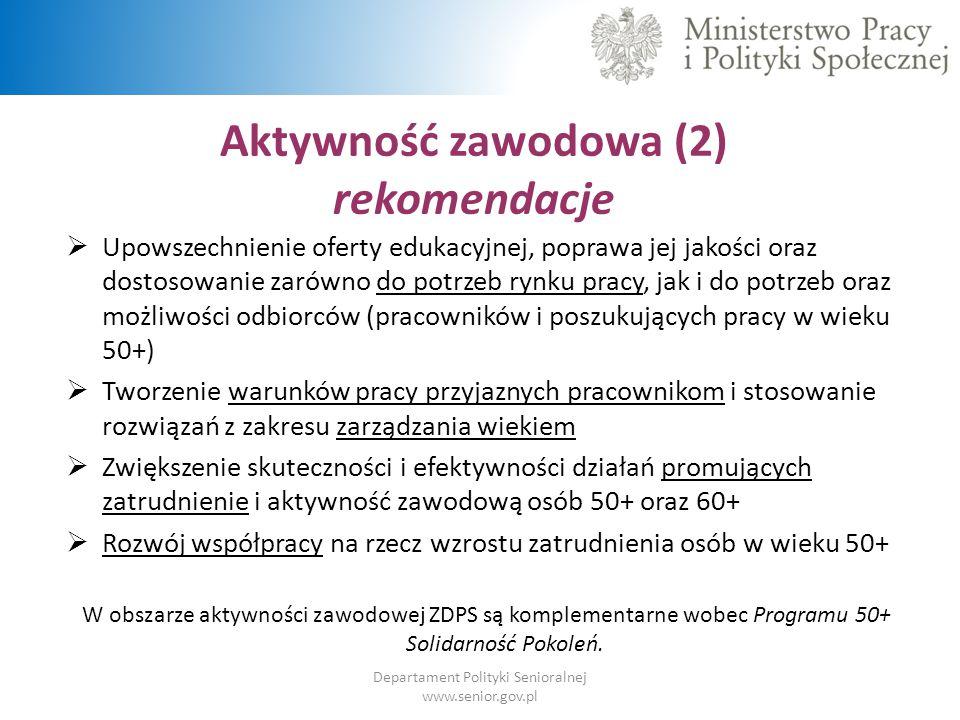 Aktywność zawodowa (2) rekomendacje Departament Polityki Senioralnej www.senior.gov.pl  Upowszechnienie oferty edukacyjnej, poprawa jej jakości oraz