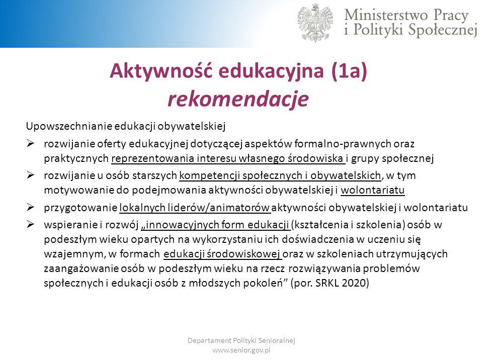 Aktywność edukacyjna (1a) rekomendacje Departament Polityki Senioralnej www.senior.gov.pl Upowszechnianie edukacji obywatelskiej  rozwijanie oferty e