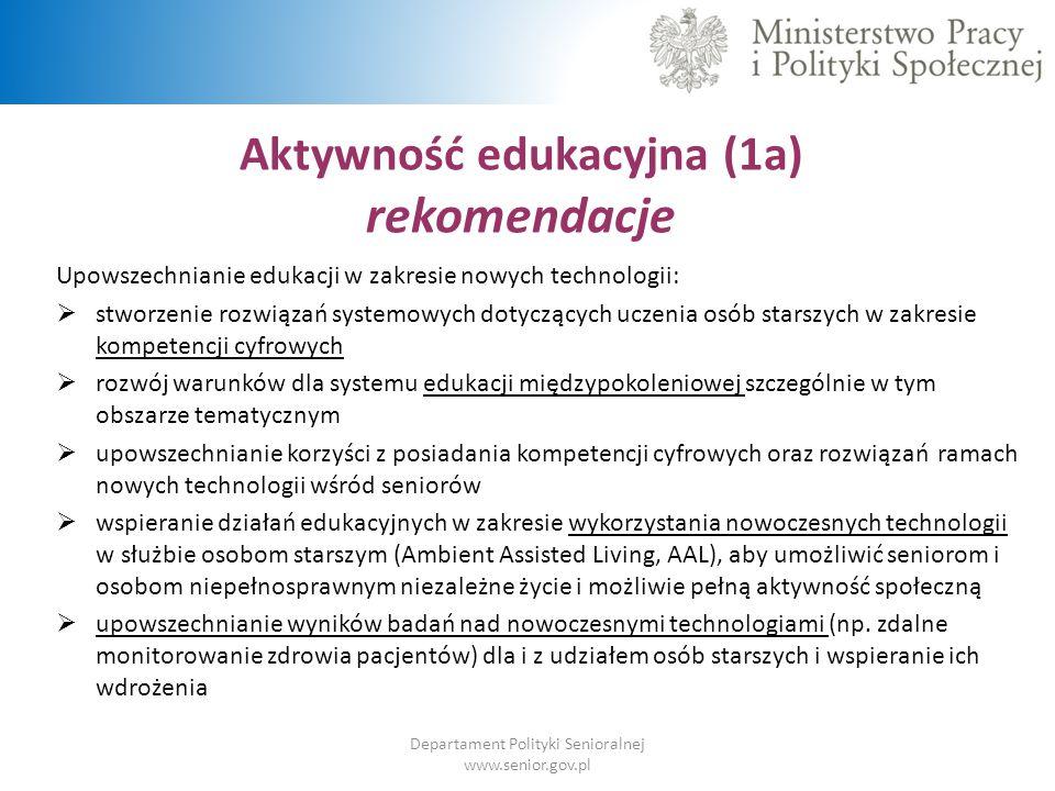 Aktywność edukacyjna (1a) rekomendacje Departament Polityki Senioralnej www.senior.gov.pl Upowszechnianie edukacji w zakresie nowych technologii:  st
