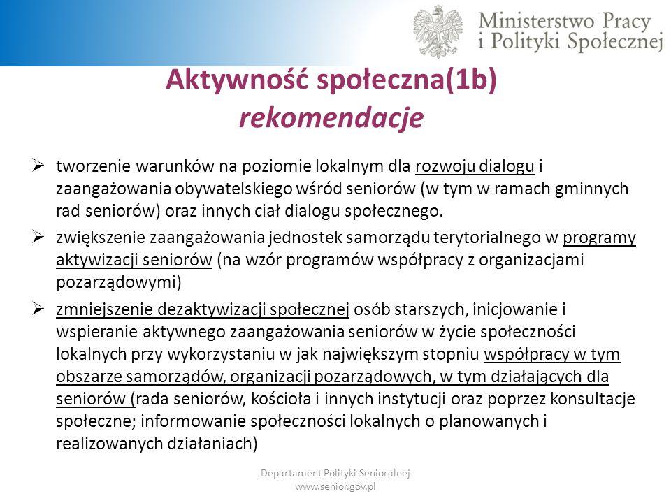 Aktywność społeczna(1b) rekomendacje Departament Polityki Senioralnej www.senior.gov.pl  tworzenie warunków na poziomie lokalnym dla rozwoju dialogu