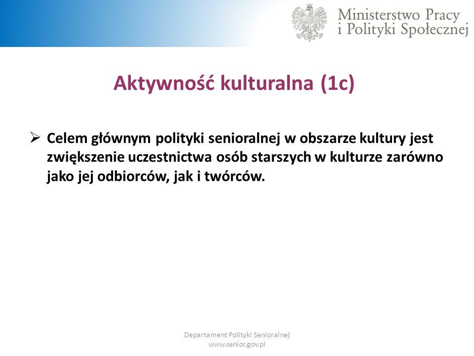 Aktywność kulturalna (1c) Departament Polityki Senioralnej www.senior.gov.pl  Celem głównym polityki senioralnej w obszarze kultury jest zwiększenie