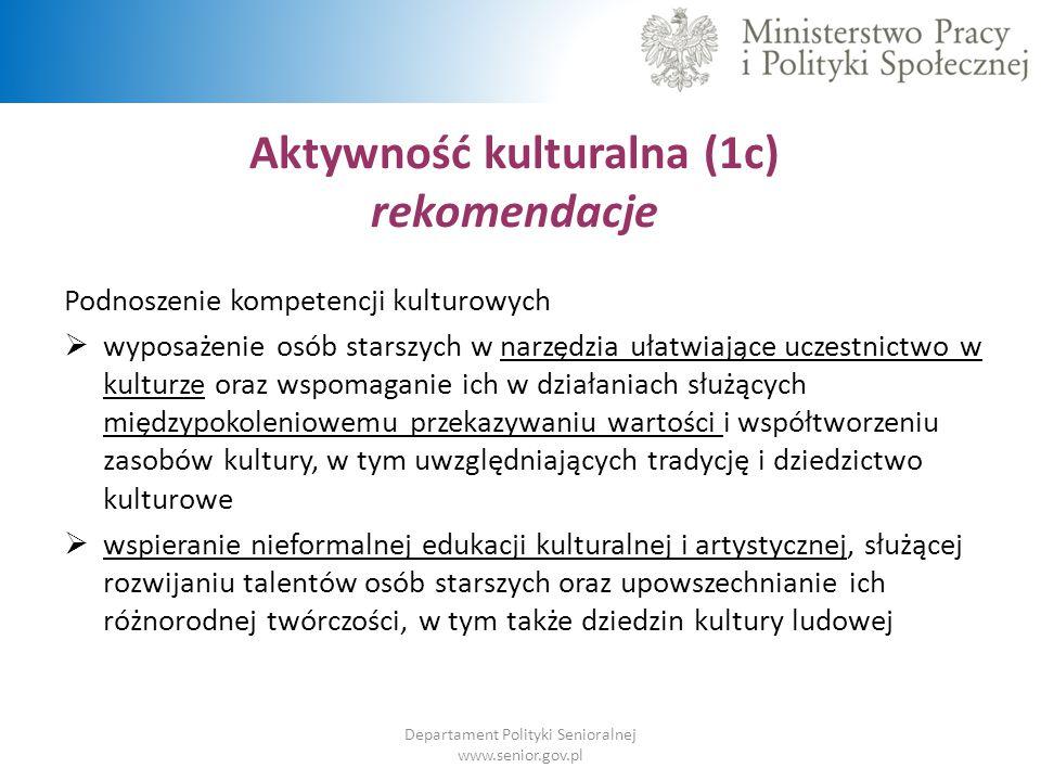 Aktywność kulturalna (1c) rekomendacje Departament Polityki Senioralnej www.senior.gov.pl Podnoszenie kompetencji kulturowych  wyposażenie osób stars