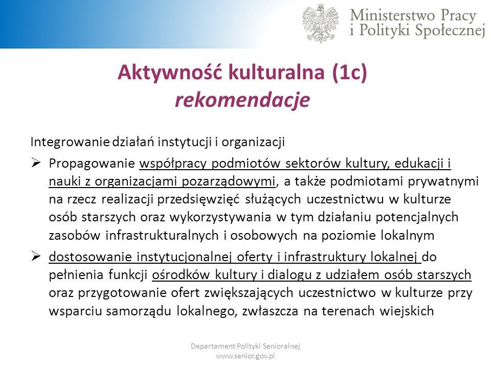 Aktywność kulturalna (1c) rekomendacje Departament Polityki Senioralnej www.senior.gov.pl Integrowanie działań instytucji i organizacji  Propagowanie