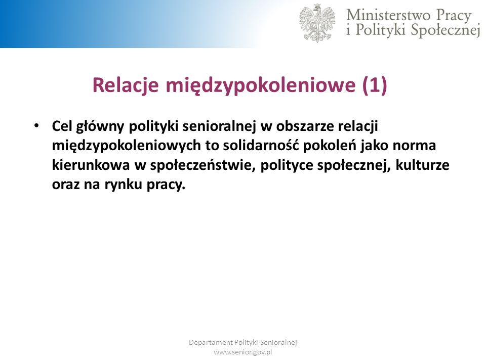 Relacje międzypokoleniowe (1) Departament Polityki Senioralnej www.senior.gov.pl Cel główny polityki senioralnej w obszarze relacji międzypokoleniowyc