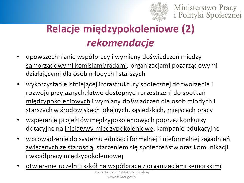 Relacje międzypokoleniowe (2) rekomendacje Departament Polityki Senioralnej www.senior.gov.pl upowszechnianie współpracy i wymiany doświadczeń między