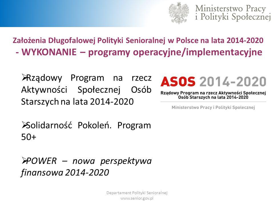 Departament Polityki Senioralnej www.senior.gov.pl Założenia Długofalowej Polityki Senioralnej w Polsce na lata 2014-2020 - WYKONANIE – programy opera