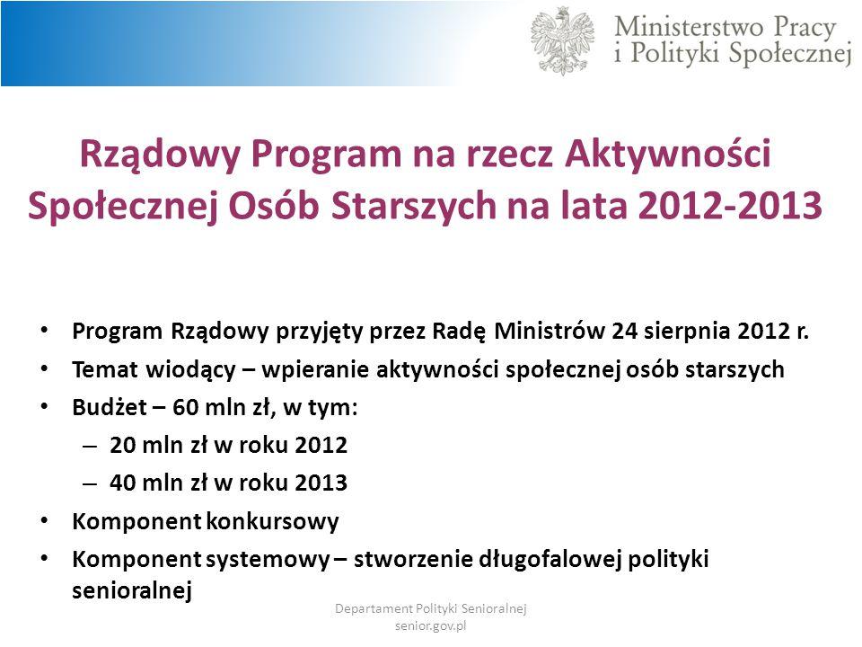 Rządowy Program na rzecz Aktywności Społecznej Osób Starszych na lata 2012-2013 Program Rządowy przyjęty przez Radę Ministrów 24 sierpnia 2012 r. Tema
