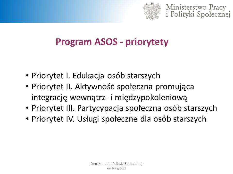 Program ASOS - priorytety Priorytet I. Edukacja osób starszych Priorytet II. Aktywność społeczna promująca integrację wewnątrz- i międzypokoleniową Pr