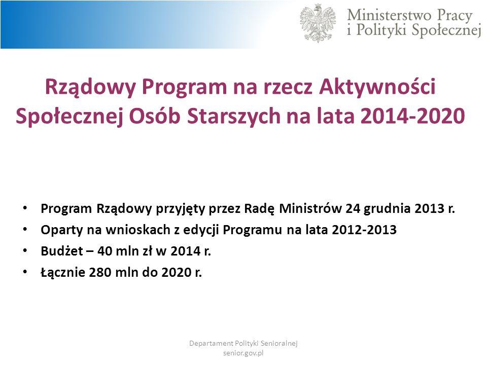 Rządowy Program na rzecz Aktywności Społecznej Osób Starszych na lata 2014-2020 Program Rządowy przyjęty przez Radę Ministrów 24 grudnia 2013 r. Opart