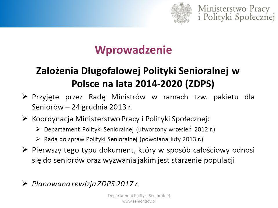 Wprowadzenie Założenia Długofalowej Polityki Senioralnej w Polsce na lata 2014-2020 (ZDPS)  Przyjęte przez Radę Ministrów w ramach tzw. pakietu dla S