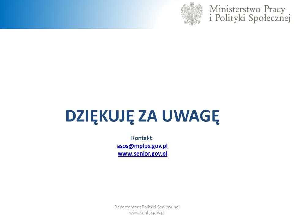 DZIĘKUJĘ ZA UWAGĘ Kontakt: asos@mpips.gov.pl www.senior.gov.pl Departament Polityki Senioralnej www.senior.gov.pl