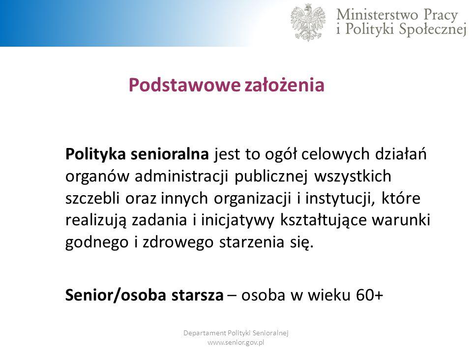 ZDPS – obszary kluczowe  Zawiera 5 obszarów kluczowych:  Zdrowie i samodzielność  Aktywność zawodowa  Aktywność edukacyjna, społeczna i kulturalna  Srebrna gospodarka  Relacje międzypokoleniowe Departament Polityki Senioralnej www.senior.gov.pl