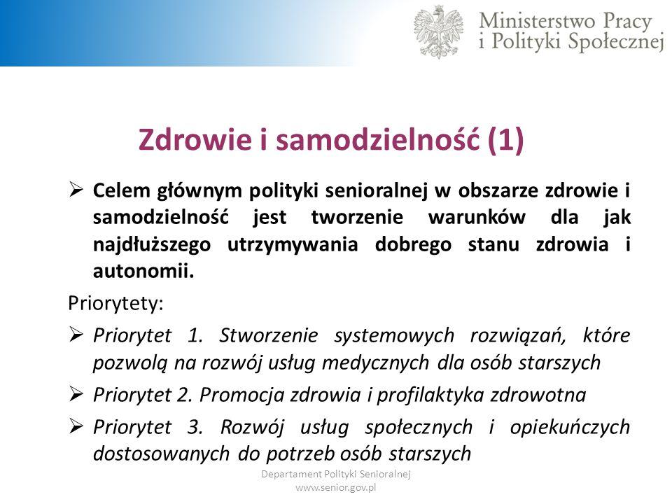 Zdrowie i samodzielność (1) Departament Polityki Senioralnej www.senior.gov.pl  Celem głównym polityki senioralnej w obszarze zdrowie i samodzielność