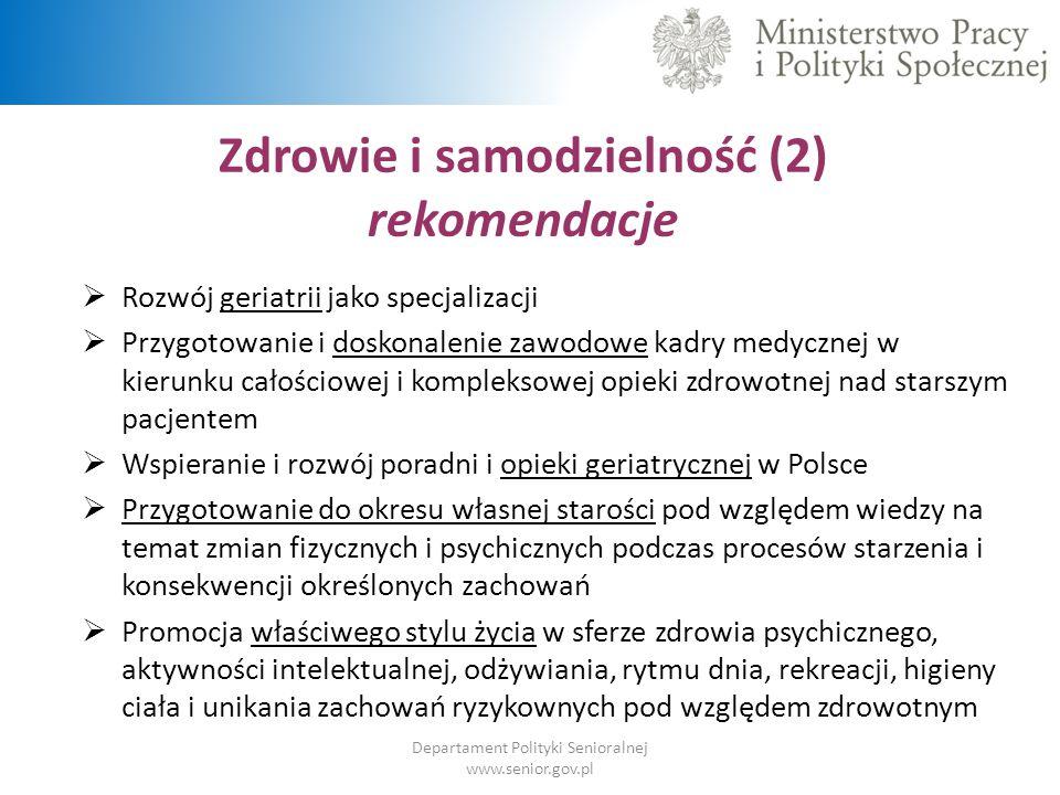 Zdrowie i samodzielność (2) rekomendacje Departament Polityki Senioralnej www.senior.gov.pl  Rozwój i wspieranie aktywności fizycznej  Rozwój usług społecznych dostosowanych do potrzeb oraz możliwości osób starszych  Zapewnienie odpowiedniej opieki nad osobami o ograniczonej samodzielności poprzez rozwój usług opiekuńczych  Opracowanie i wdrożenie systemu teleopieki oraz wykorzystanie innowacyjnych technologii w ułatwieniu organizacji opieki dla osób starszych  Stworzenie systemów wsparcia dla opiekunów nieformalnych, w szczególności na poziomie lokalnym