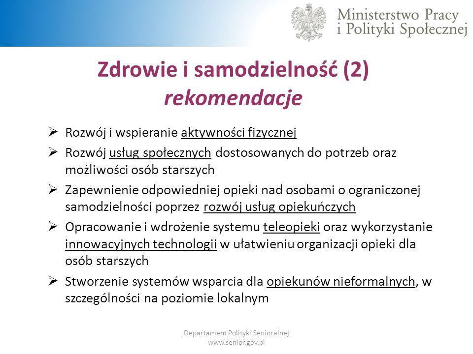 Zdrowie i samodzielność (2) rekomendacje Departament Polityki Senioralnej www.senior.gov.pl  Rozwój i wspieranie aktywności fizycznej  Rozwój usług