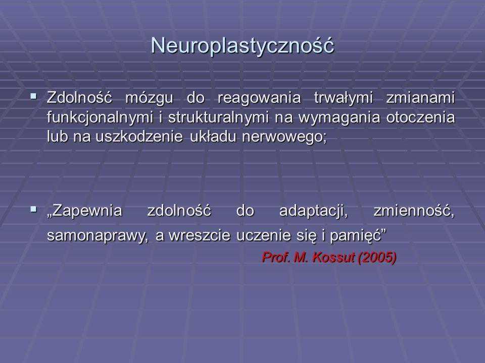 Neuroplastyczność  Zdolność mózgu do reagowania trwałymi zmianami funkcjonalnymi i strukturalnymi na wymagania otoczenia lub na uszkodzenie układu ne