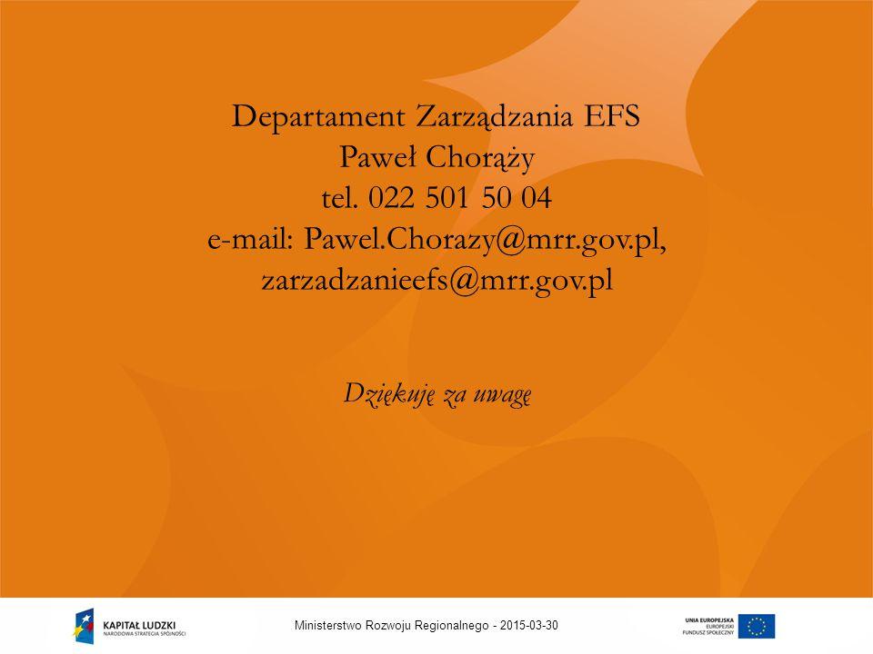 2015-03-30Ministerstwo Rozwoju Regionalnego - Departament Zarządzania EFS Paweł Chorąży tel.
