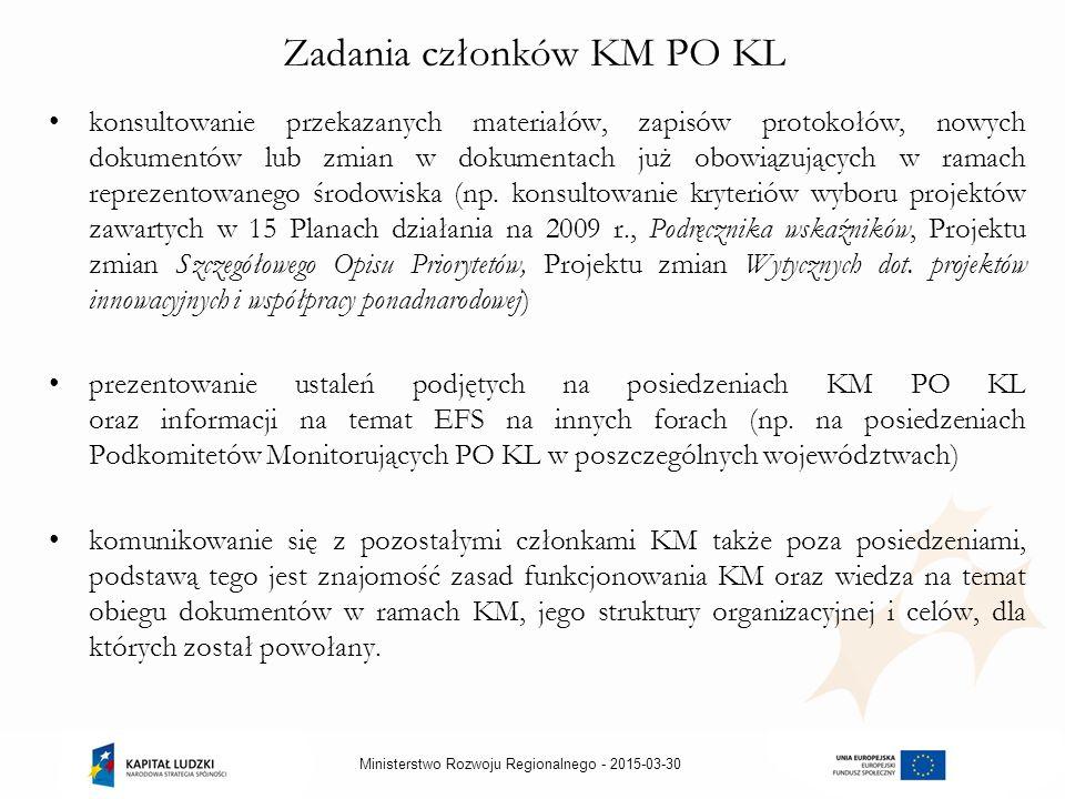 2015-03-30Ministerstwo Rozwoju Regionalnego - Zadania członków KM PO KL konsultowanie przekazanych materiałów, zapisów protokołów, nowych dokumentów lub zmian w dokumentach już obowiązujących w ramach reprezentowanego środowiska (np.