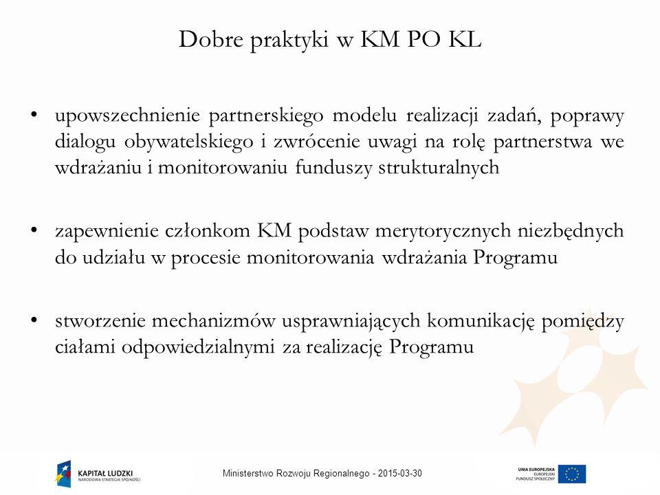 2015-03-30Ministerstwo Rozwoju Regionalnego - Dobre praktyki w KM PO KL upowszechnienie partnerskiego modelu realizacji zadań, poprawy dialogu obywatelskiego i zwrócenie uwagi na rolę partnerstwa we wdrażaniu i monitorowaniu funduszy strukturalnych zapewnienie członkom KM podstaw merytorycznych niezbędnych do udziału w procesie monitorowania wdrażania Programu stworzenie mechanizmów usprawniających komunikację pomiędzy ciałami odpowiedzialnymi za realizację Programu